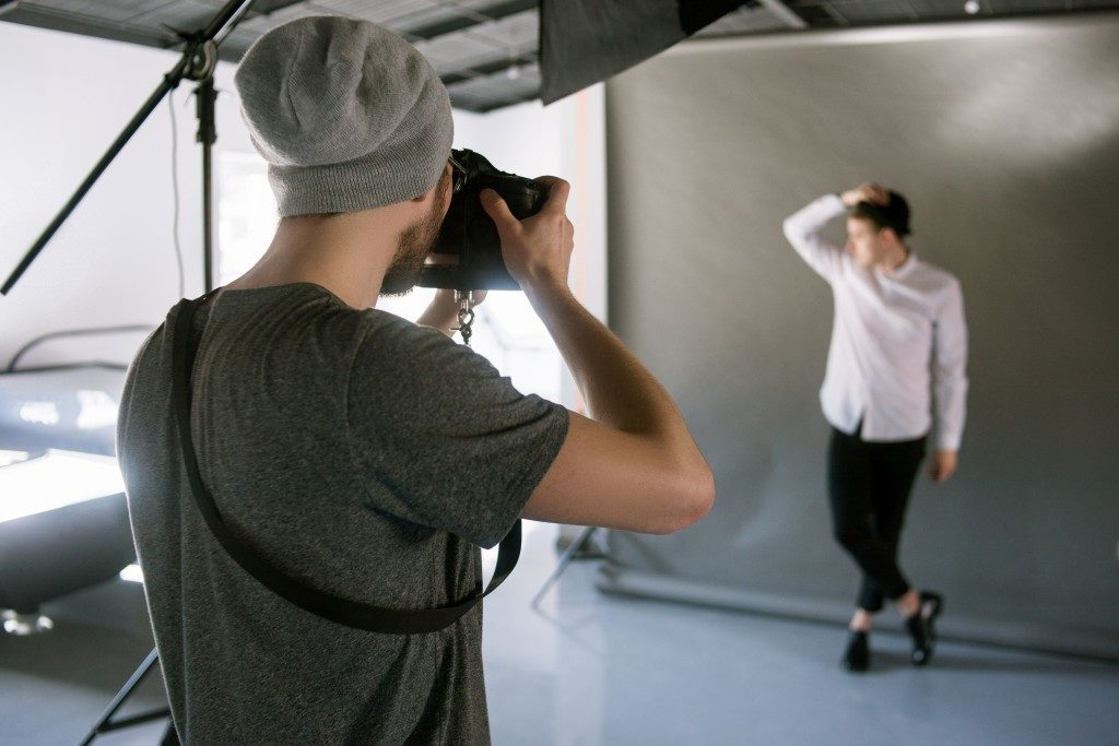 Photographer on a fashion photo shoot