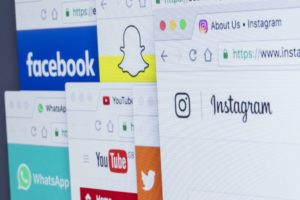 browsers with social media channels open