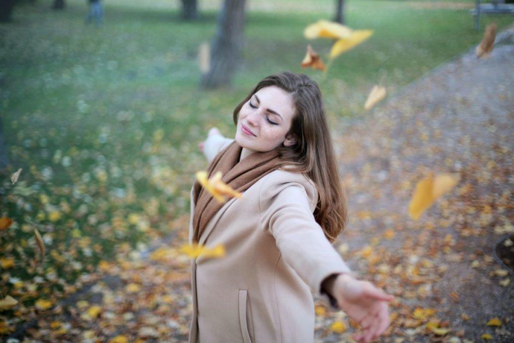 woman happy dancing